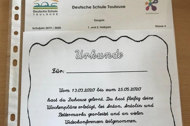 eutsche Schule Toulouse: Abschluss 2020 Urkunde Fotograf: Christina Claßen