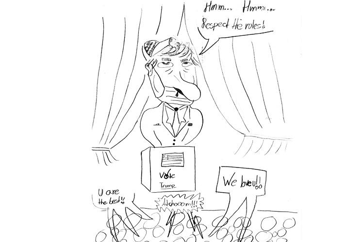 Deutsche Schule Toulouse, Karikaturist Biz, Zeichnung Schüler