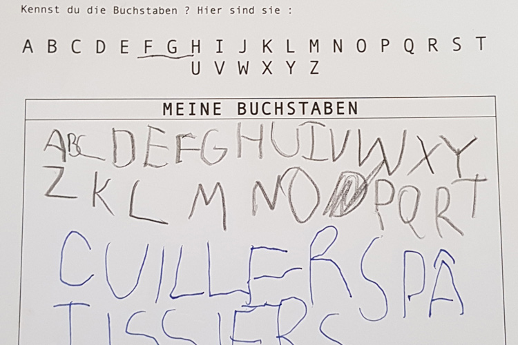 Deutsche Schule Toulouse, Kindergarten, Buchstaben