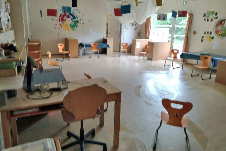 Deutsche Schule Toulouse, Kindergarten Raum Coronamaßnahmen