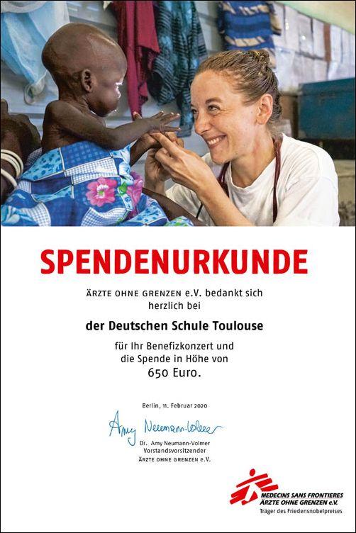 Ärzte ohne Grenzen Spendenurkunde | Deutsche Schule Toulouse