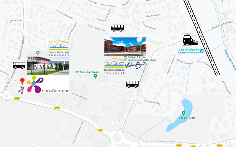 Deutsche Schule Toulouse: Karte mit zwei Standorten