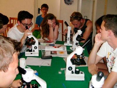 Schülergruppe an Mikroskopen