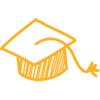 Strichzeichnung Akademiker-Hut